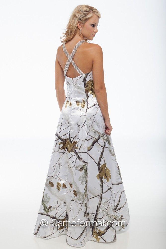 White Camo Bridesmaid Dresses
