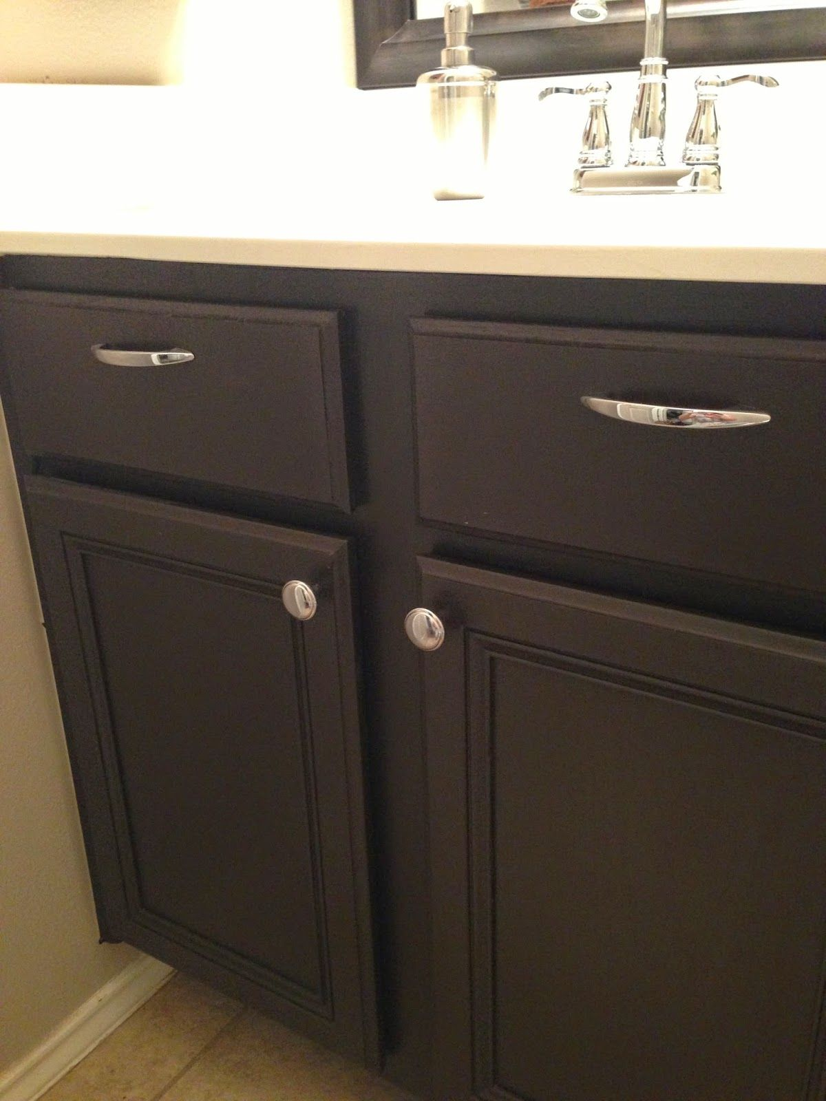 Kona Dark Brown Cabinets In The Powder Room Easy One