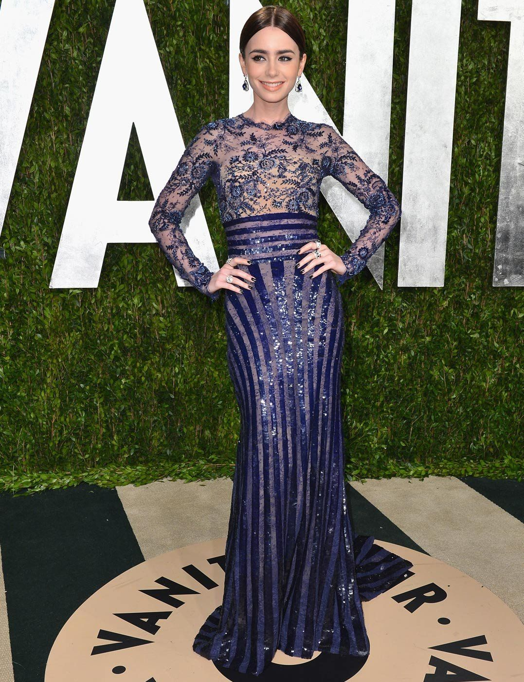 Lily Collins in Zuhair Murad, Vanity Fair Oscars Party Red Carpet 2013