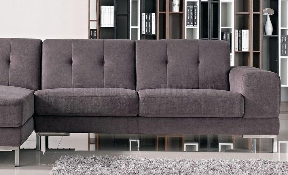 Grey Fabric Modern L Shape Sectional Sofa W Metal Legs Grey Sectional Sofa Sectional Sofa Modern Sofa Sectional