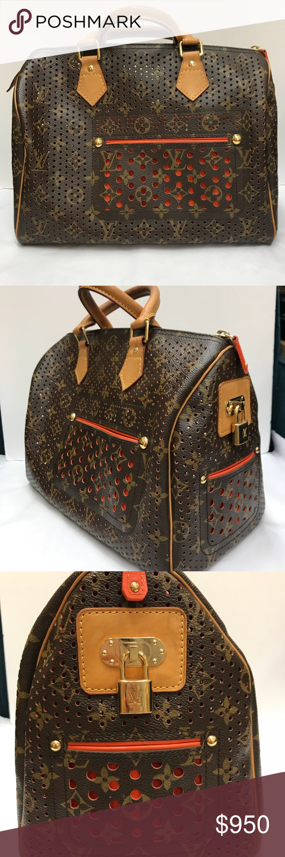 35818d217a05 Lv limited addition perforated speedy 30 Louis Vuitton Gorgeous orange  Limited addition collectors item monogrammed pattern