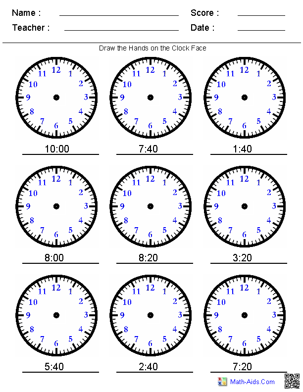 Draw the Hands on the Clock Worksheets | clasa-1 | Pinterest ...