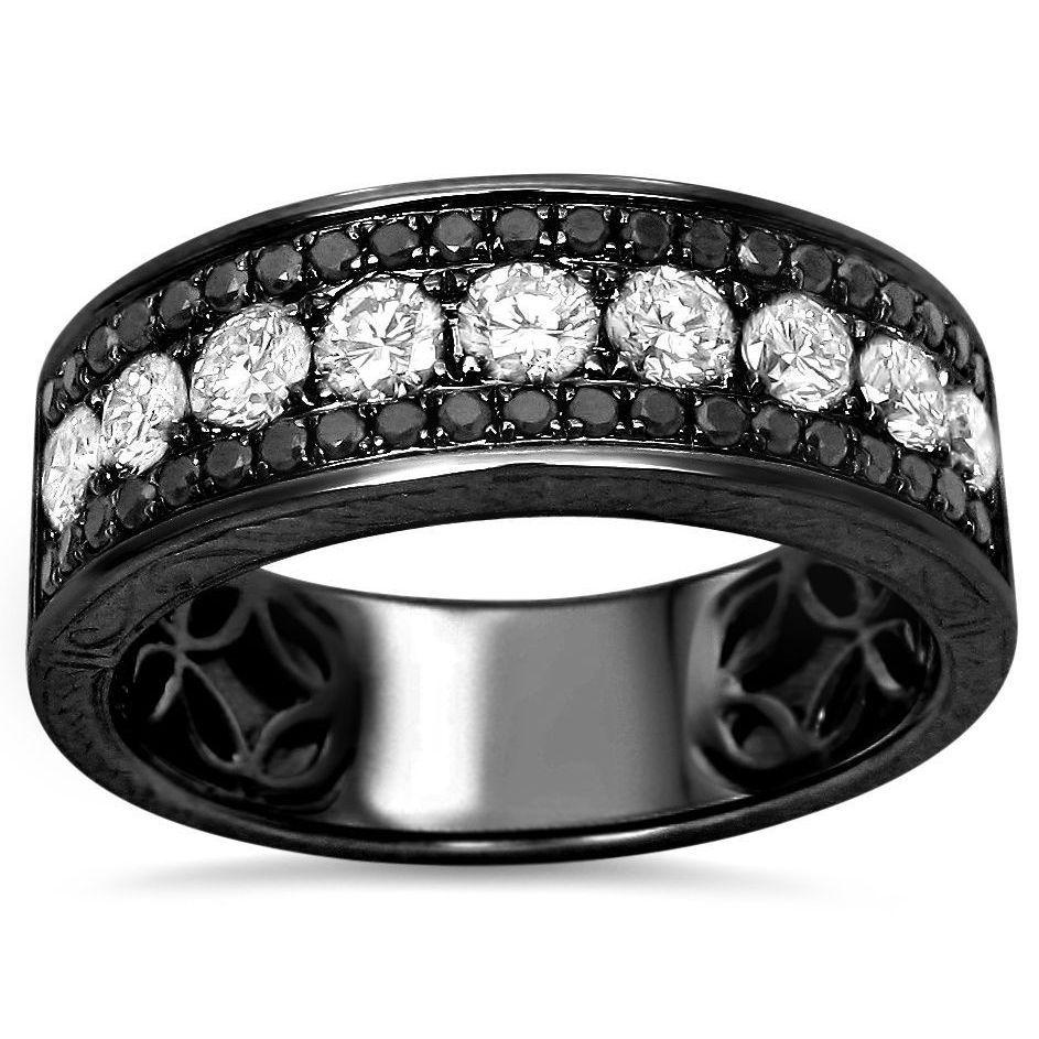 Miadora signature collection 14k white gold 1ct tdw diamond double row - Noori 14k Black Gold Men S 1 2 5ct Tdw White And Black Diamond Wedding Band By Noori Collection