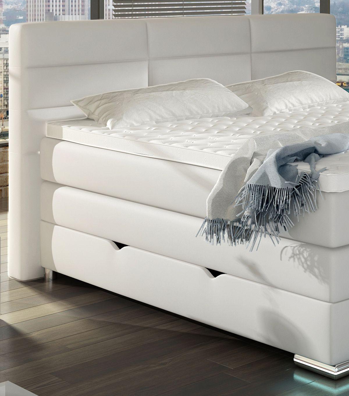 Roma Boxspringbett mit Bettkasten Weiß 180x200 cm Bett
