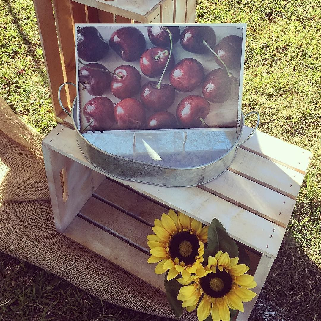 Here is the cherry print as an 8x12 print in display from a craft fair this summer. Always measure your space before ordering artwork. #cherries #fruit #art