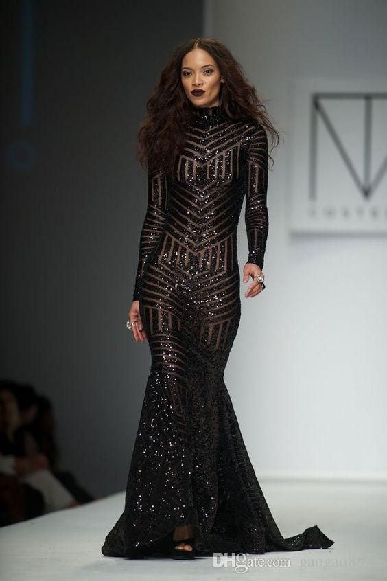608a8465b5261 Michael Costello 2019 New Sparkly Sequins Long Sleeve Mermaid ...
