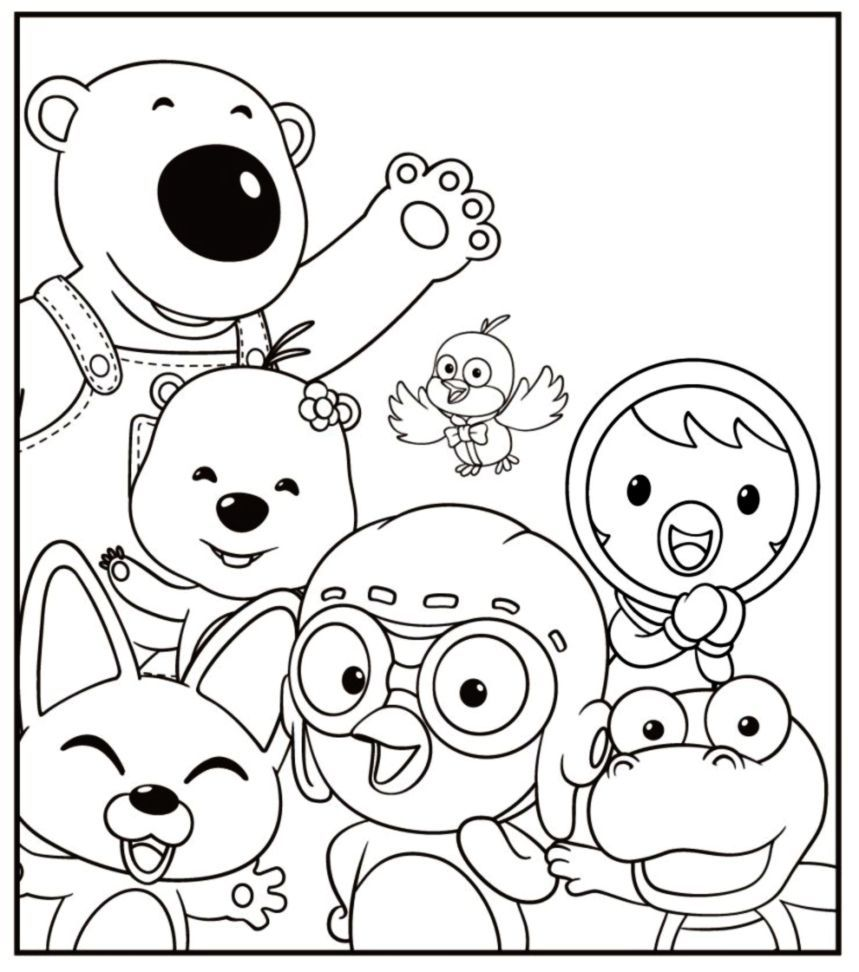 Pororo coloring sheet for kids - Coloring pages for kids on Coloring-Forkids.com