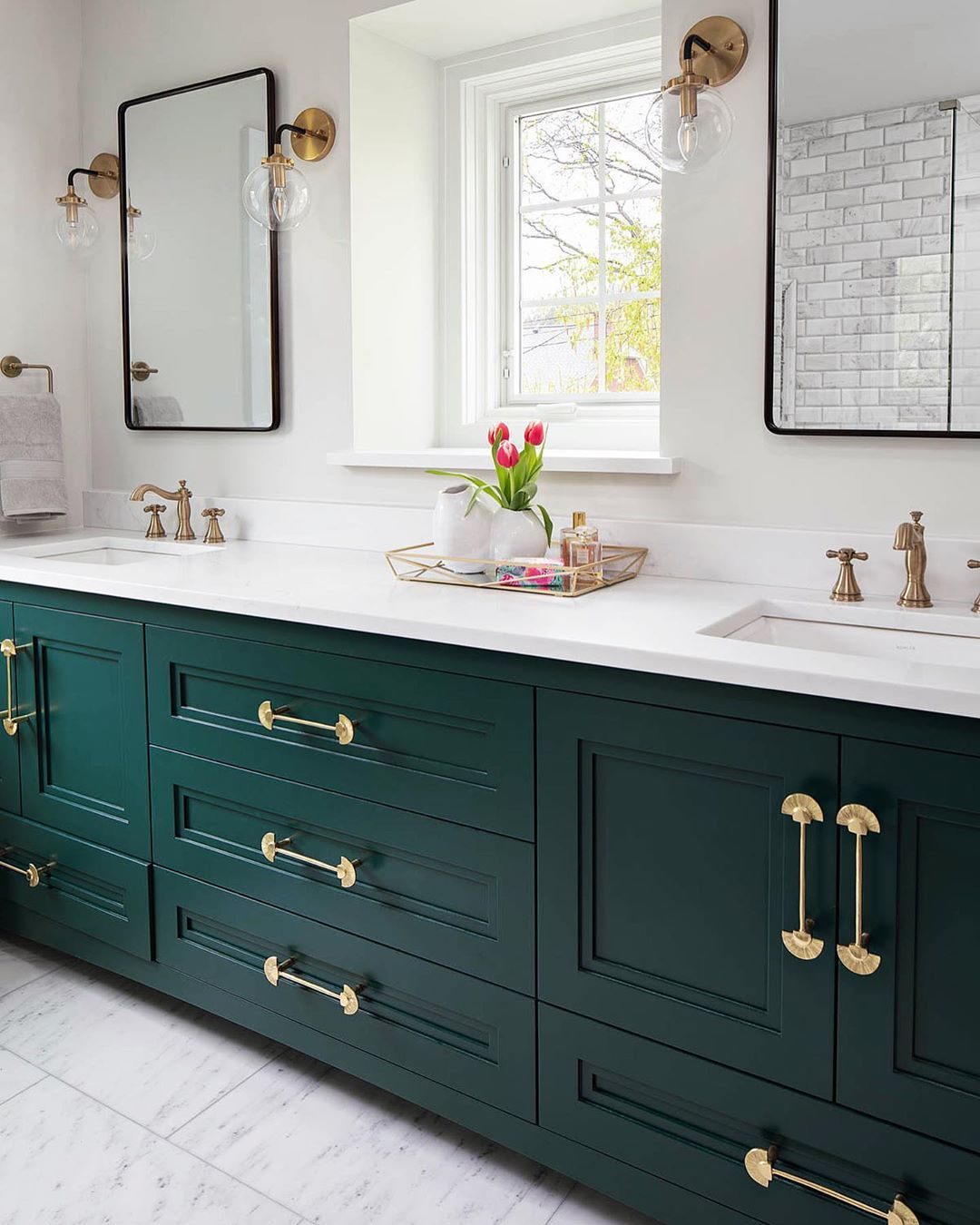 Davin Interiors On Instagram Sending You Love And Luck Today Inspired By A Dark Green Bathroom Dark Green Bathrooms Green Bathroom Vanity Green Bathroom [ 1350 x 1080 Pixel ]