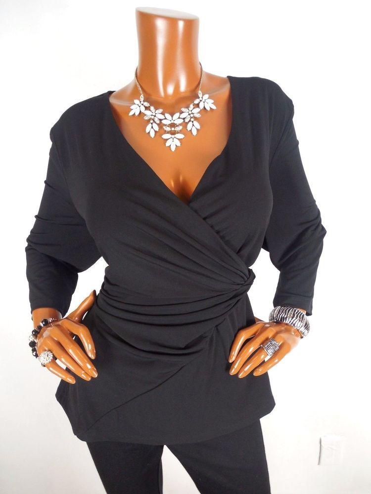 Susan Graver Womens Top XL SEXY Black Low Cut Dressy Blouse Casual ...