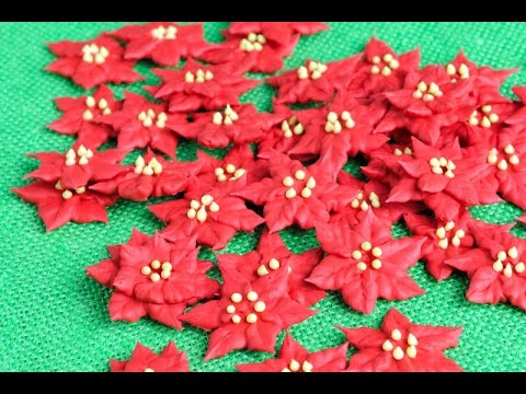 Royal Icing Poinsettia Flowers Haniela S Youtube In 2020 Royal Icing Transfers Royal Icing Royal Icing Flowers
