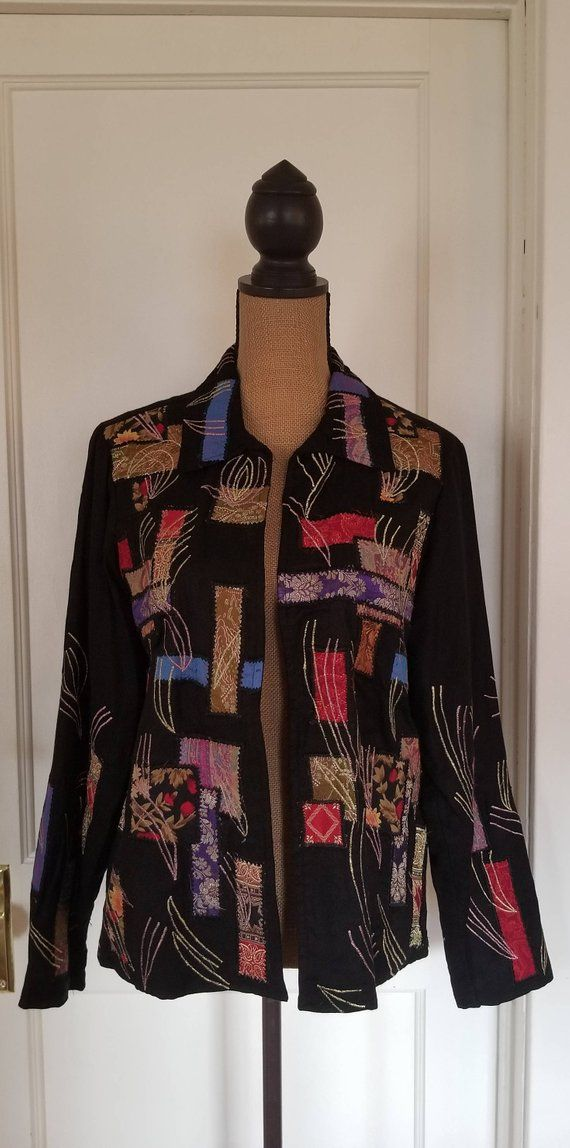 Vintage 1990 s Black Coldwater Creek Jacket   Blazer With Floral Patchwork 6edf814a98958