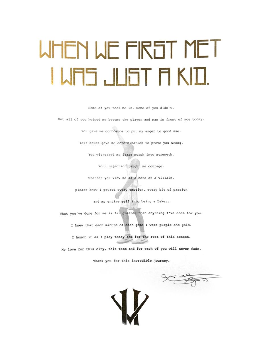Kobe Bryant Retirement Letter Was Given Out To Fans At The November 29th  Laker Game.  Letter Of Retirement