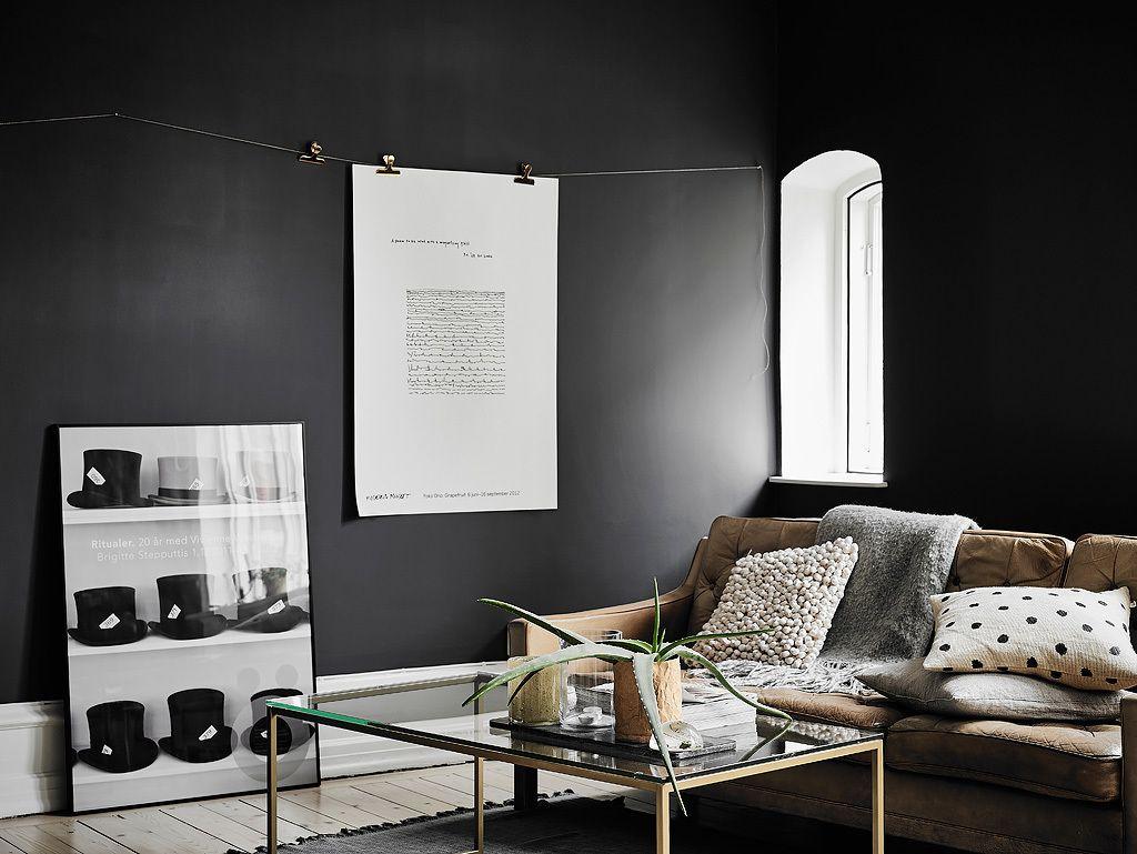 Woonkamer Slaapkamer Combinatie : Woonkamer slaapkamer combinatie met zwarte muren woonkamer