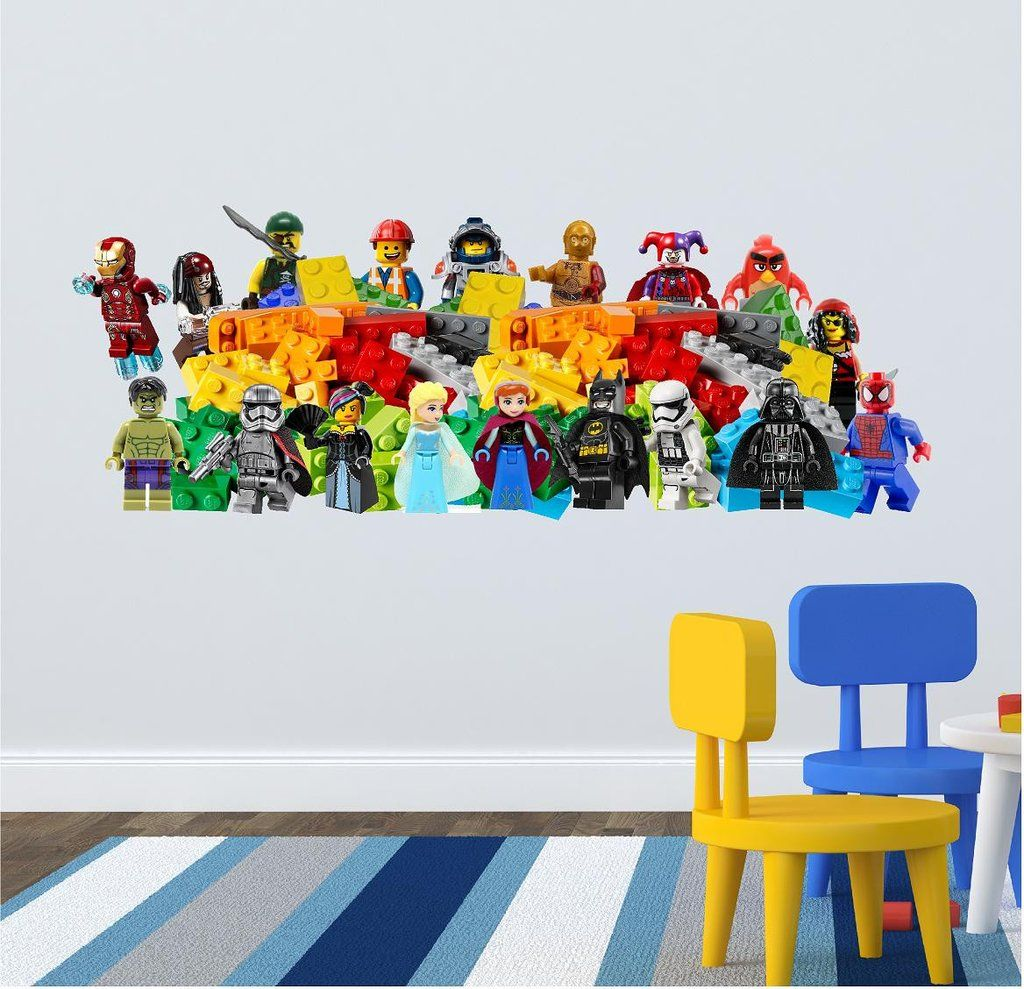 Kids wall sticker decal 118 x 43 cm lego wall wall stickers
