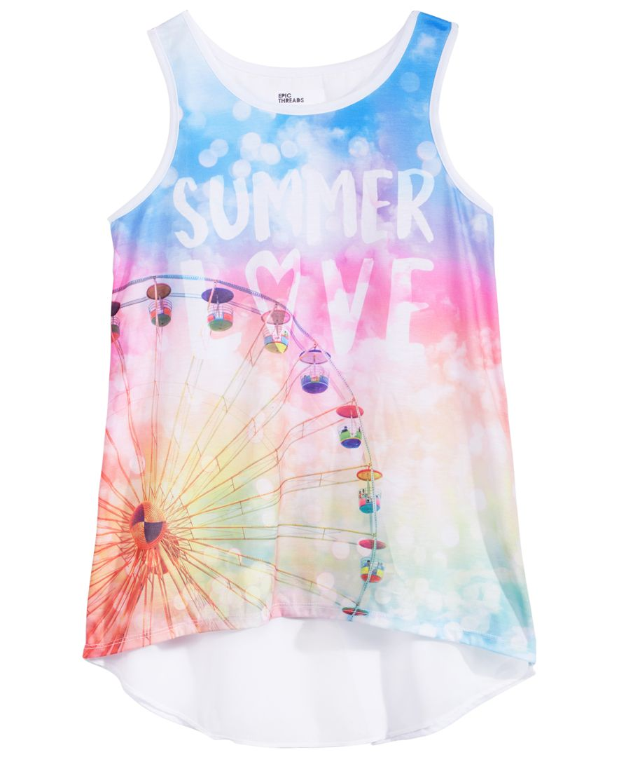 d6aac9ca12 Epic Threads Graphic-Print Chiffon-Back Tank Top, Big Girls, Created for  Macy's