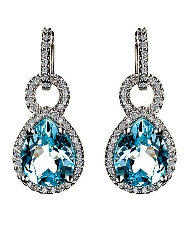 Jenny Perl Pear Shaped Blue Topaz Earring Enhancers