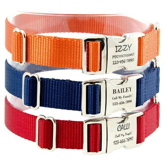 Personalized Dog Collar Funky Engraved Nylon ID Collar Small Medium Large Dogs