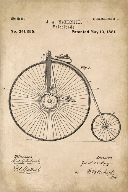 Old Style Bicycle Patent Art Poster Print Bicycle Wall Art