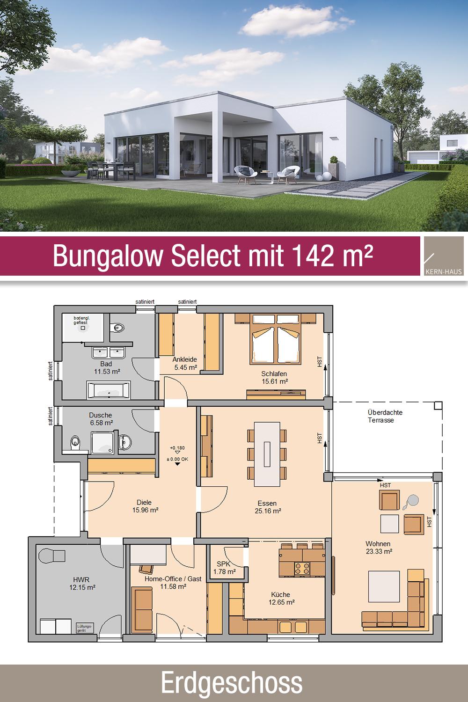Bungalow Grundriss 142 m² 3 Zimmer Erdgeschoss