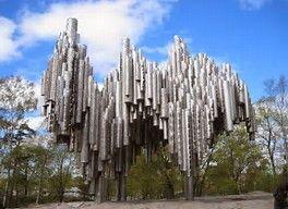 Jean Sibelius (composer) memorial monument, welded iron sculpture in Helsinki, Finland