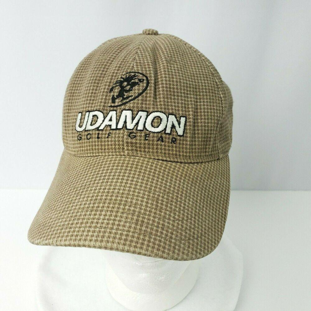 0b8c0ecf Udamon Golf Gear Hat Cap Tan White Checks Adjustable Strap #Udamon # BaseballCap
