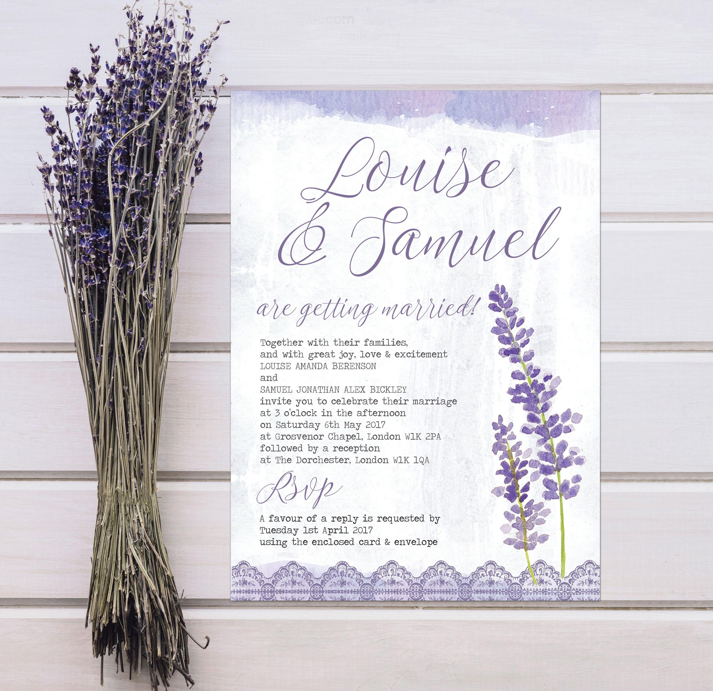 Beautiful Natural Floral Wedding Invitations With Delicate Watercolour Watercolor Laven Lilac Wedding Themes Beautiful Wedding Stationery Wedding Invitations
