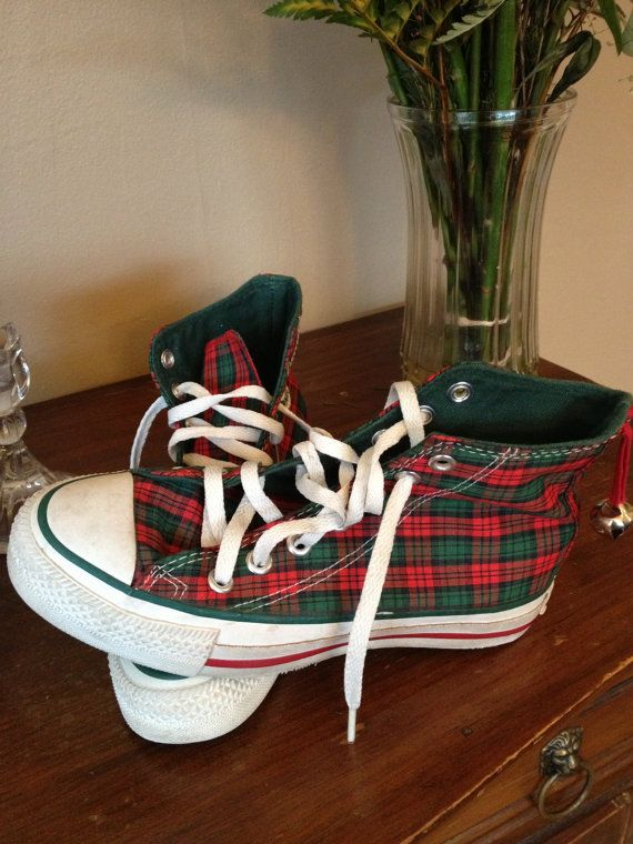 56db8f22b43f Vintage 80s RARE Holiday Christmas All Star Converse Chuck Taylors Red and  Green Plaid with Jingle Bell