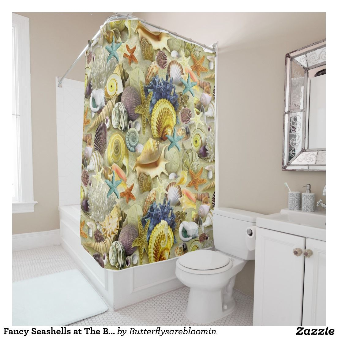 Fancy Seashells At The Beach Shower Curtain