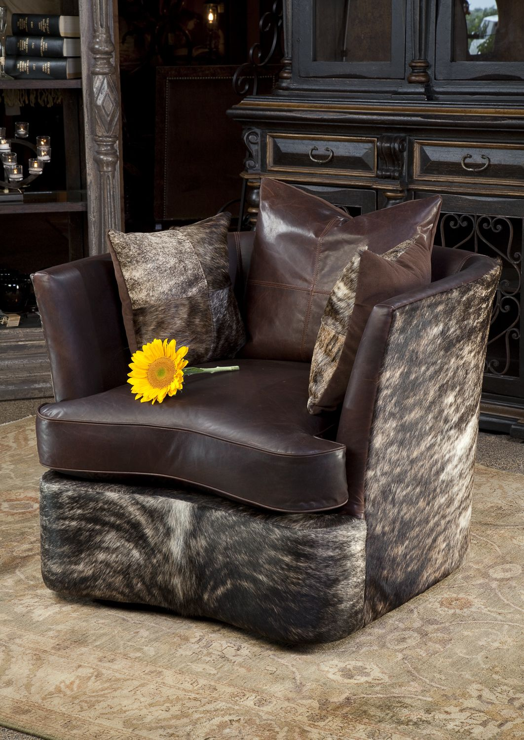 Leather Barrel Chair With Hair On Hide. Brumbaughu0027s Fine Home Furnishings