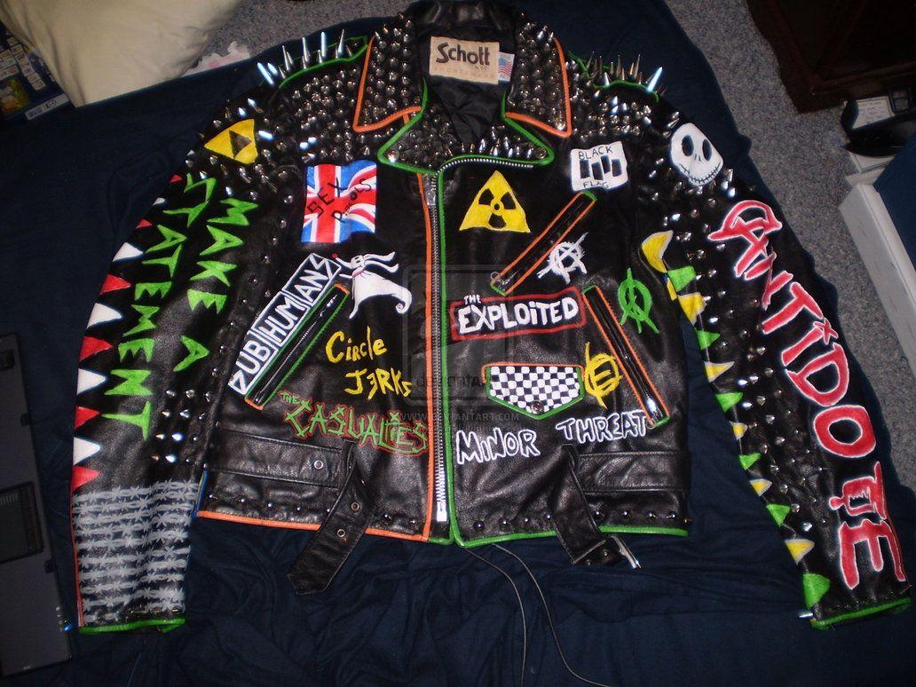 Leather jacket punk - Punk Leather Biker Jacket