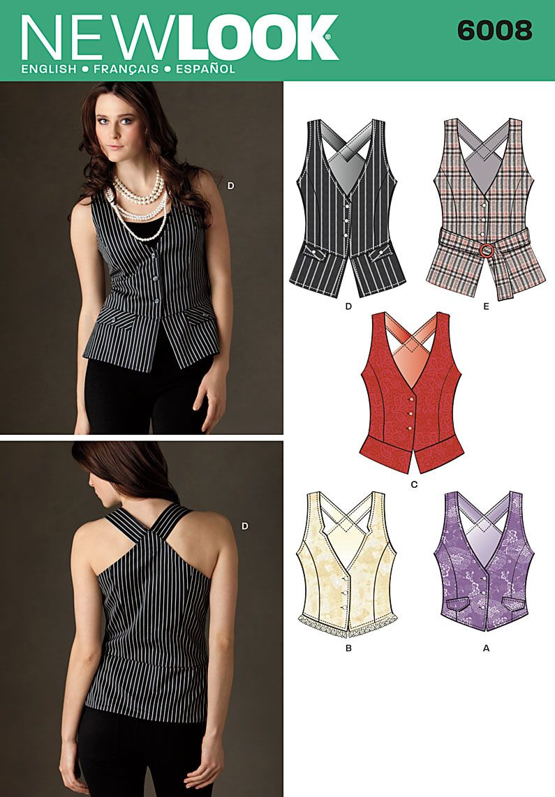 Shirt design new look - Womens Vest With Length And Trim Sewing Pattern 6008 New Look Yes This