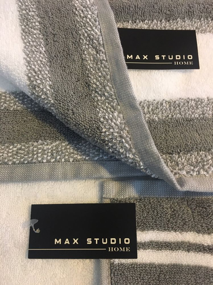 Max Studio Home Towels Set of 2 White Gray 100 Cotton Striped