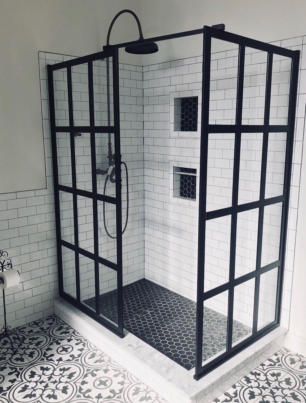 Photo of B&W Industrial Farmhouse Bathroom w/ 2X Black Factory Window Style Gridscape Shower Screens