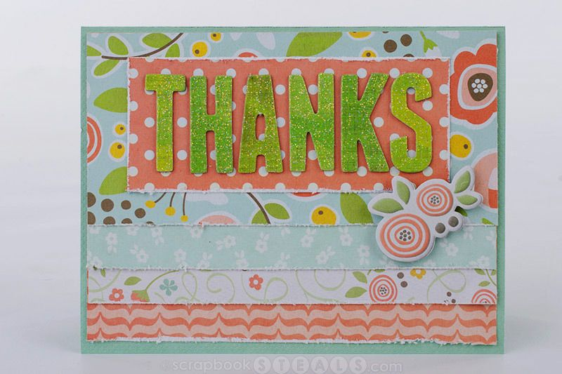 Thank you card made with We R Memory Keepers Simply Spring collection