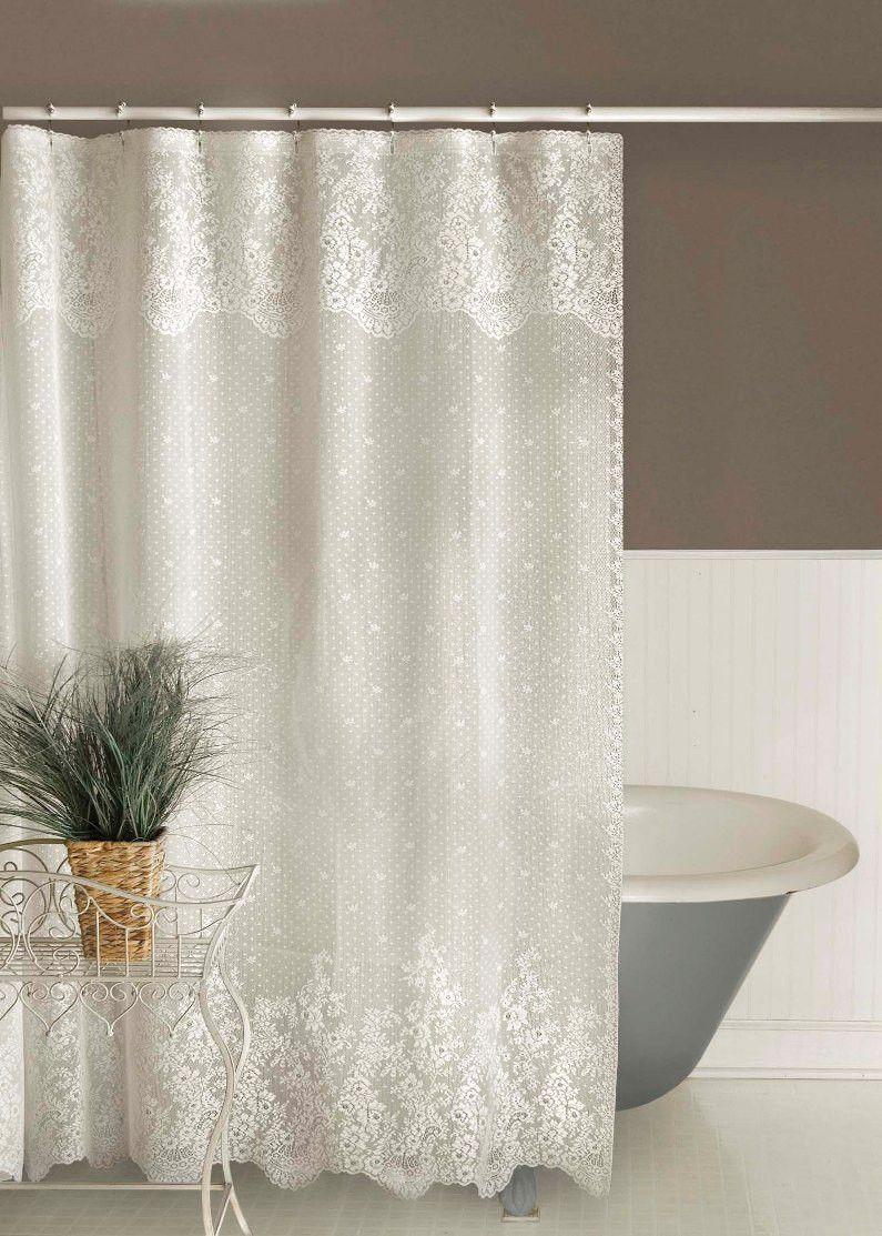 Floret Lace Shower Curtain Diakosmhsh Mpaniwn Diakosmhsh Spitioy Koyrtines Mpanioy