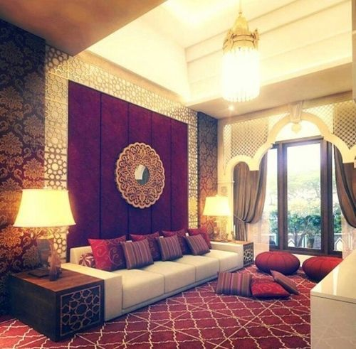 A Luxurious Moroccan Style Living Room With Lush Details Like The Medallion  Style Mirror, Arch Around The Window And That Ceiling!