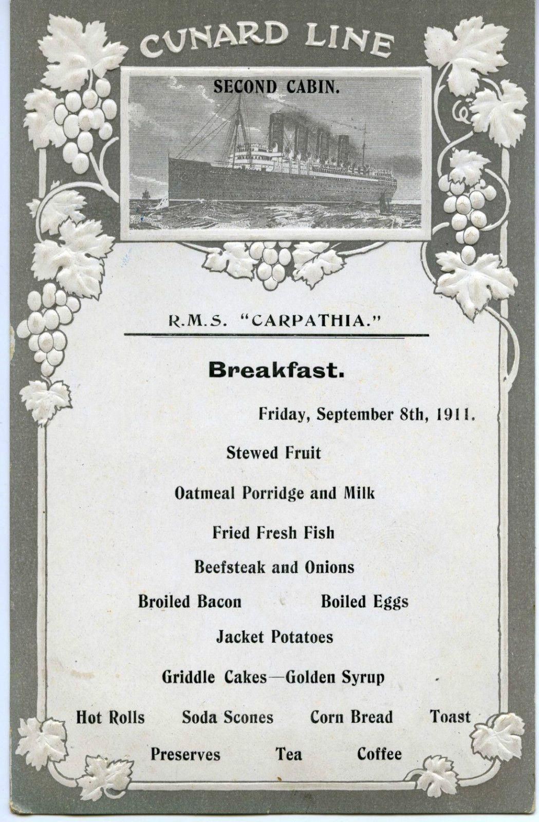 Secondclass menu from the Carpathia. Cunard, Titanic