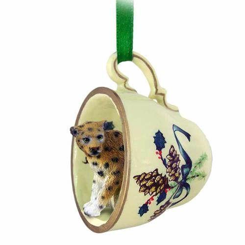 Leopard Teacup Green Ornament
