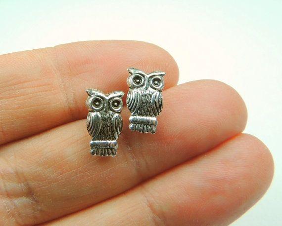 Sterling Silver Owl Stud Earrings Silver Jewelry by KissingRavens, $18.00