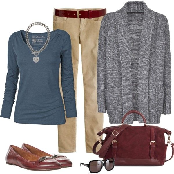 """Oxblood and Kahki"" by fiftynotfrumpy on Polyvore"