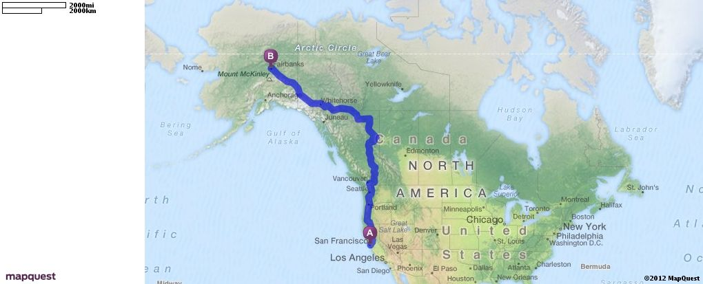 Driving Directions from San Francisco California to Fairbanks