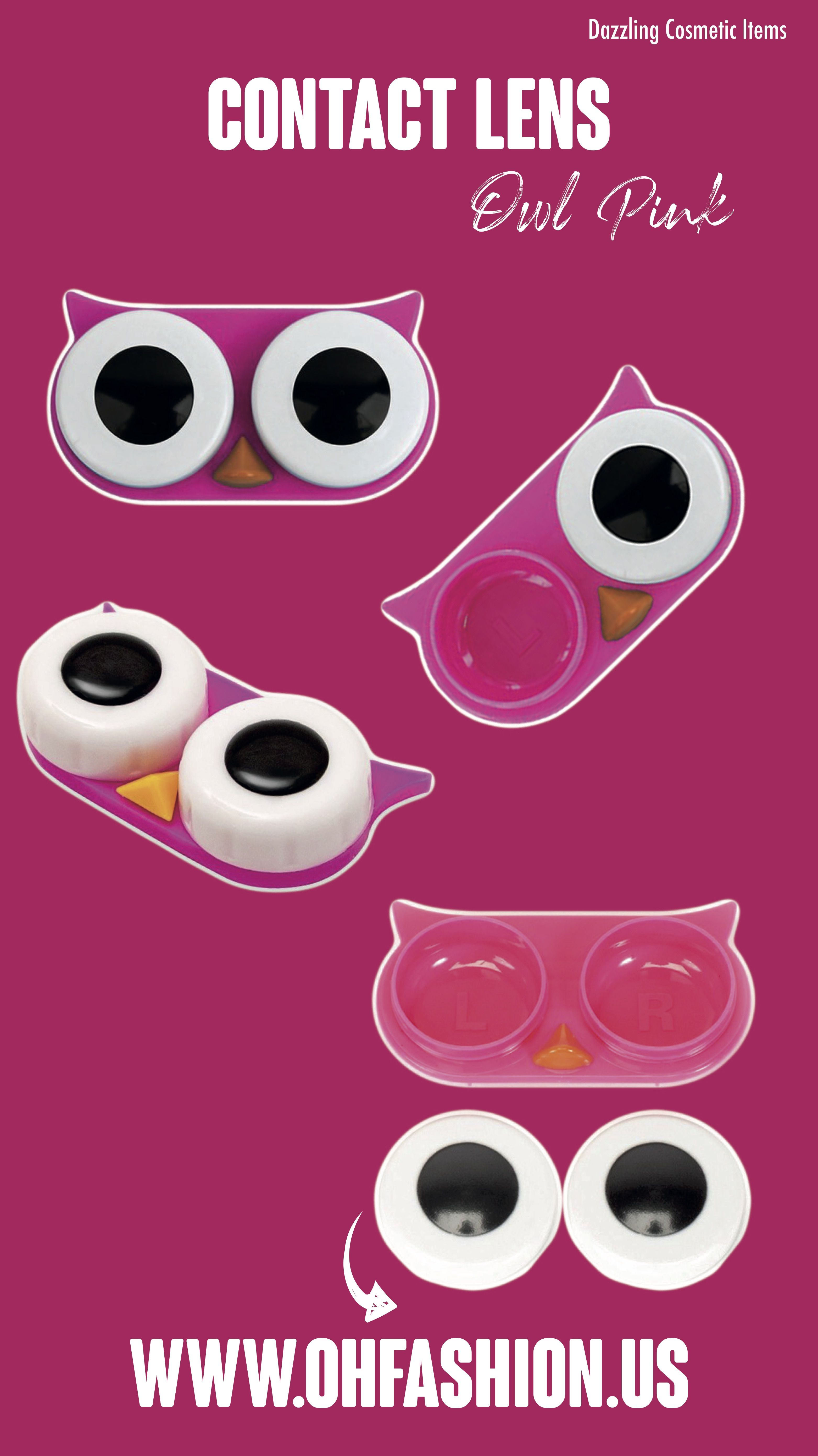 Contact lens case owl pink contact lenses case fashion