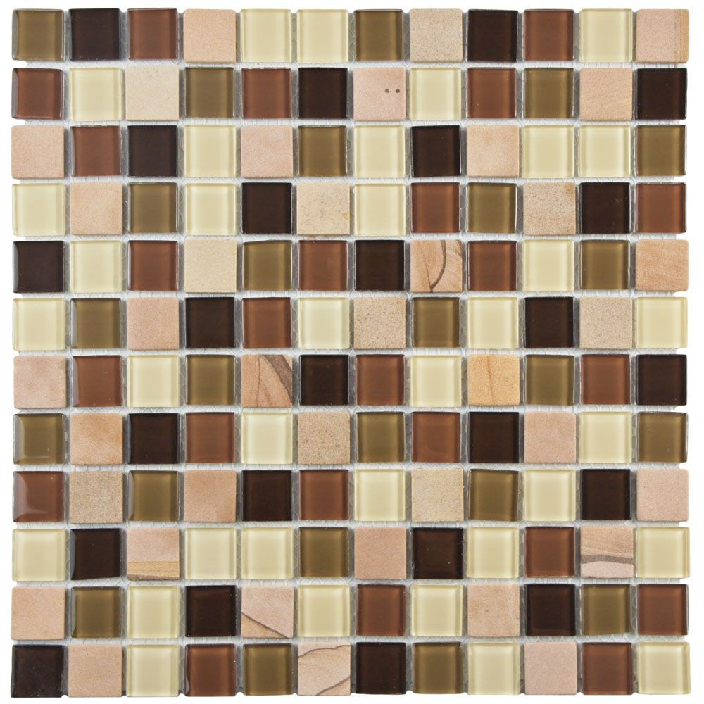 Spectrum Square Kalamata 11 3 4 Inch X 11 3 4 Inch X 4 Mm Glass Stone Mosaic Tile 9 79 Sq Ft Case Stone Mosaic Mosaic Tiles Stone Mosaic Tile