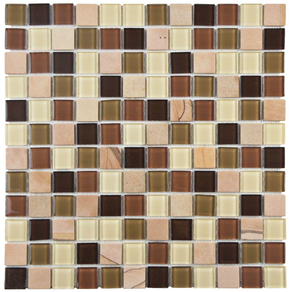 Spectrum Square Kalamata 11 3 4 Inch X 11 3 4 Inch X 4 Mm Glass Stone Mosaic Tile 9 79 Sq Ft Case Stone Mosaic Mosaic Tiles Stone Mosaic Tile