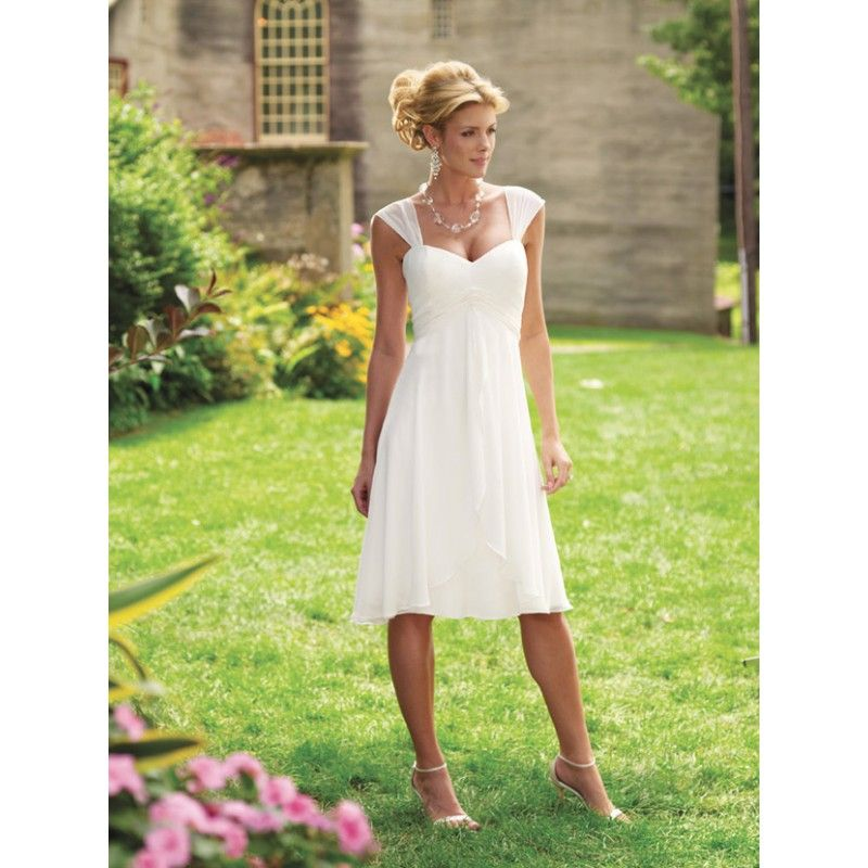 Wedding Dresses For Second Marriages Cap Sleeves Casual