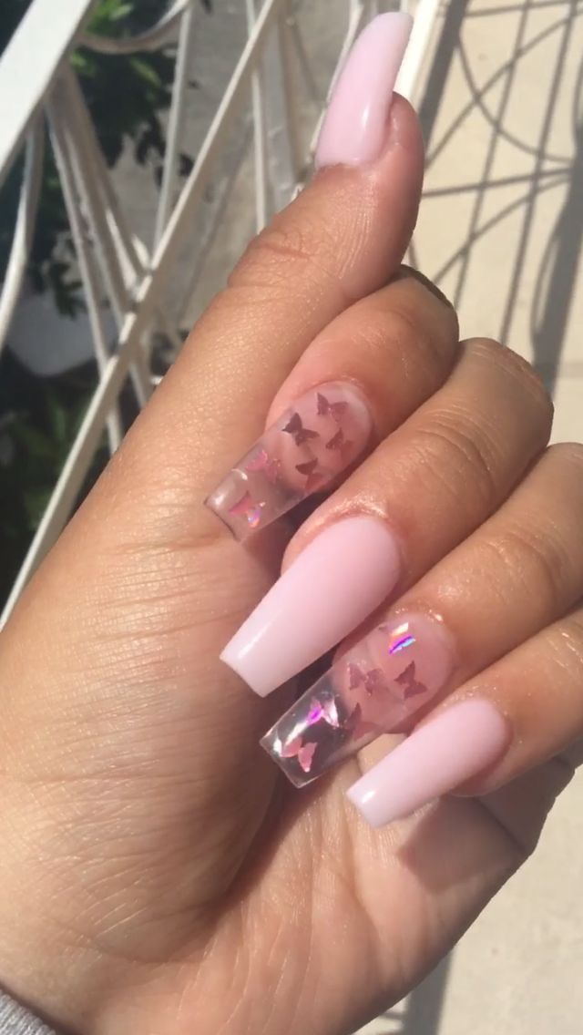 Clear Pink Butterfly Nails In 2020 Long Acrylic Nails Clear Acrylic Nails Fire Nails