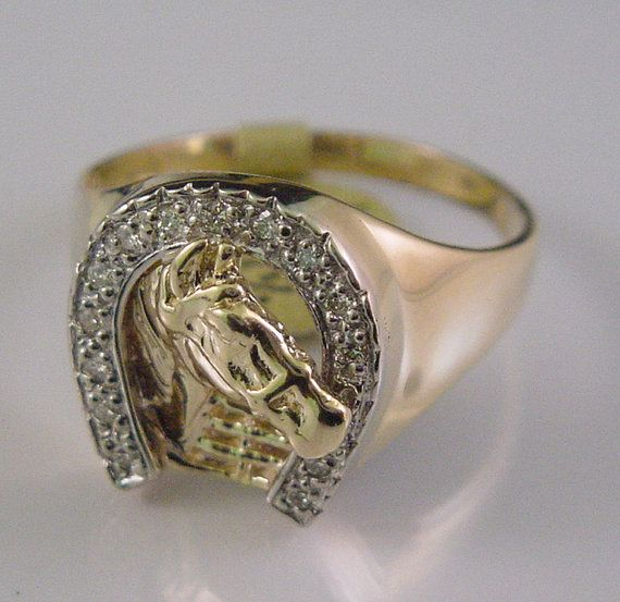Mens Diamond Ring Horseshoe with Horse 25 Carat 14K Solid Gold by