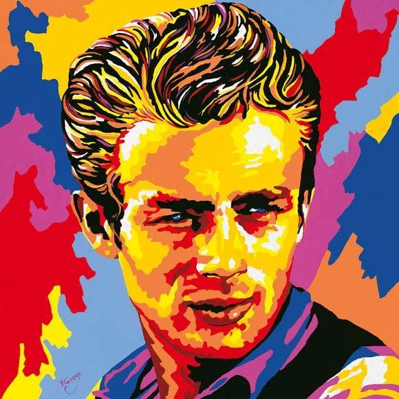 This a James Dean oil painting in pop art version and we all know James dean from his grate films like Rebel Without a Cause , East of Eden and many others that all where made round the time of the pop art movement which was the 1950's-60s.