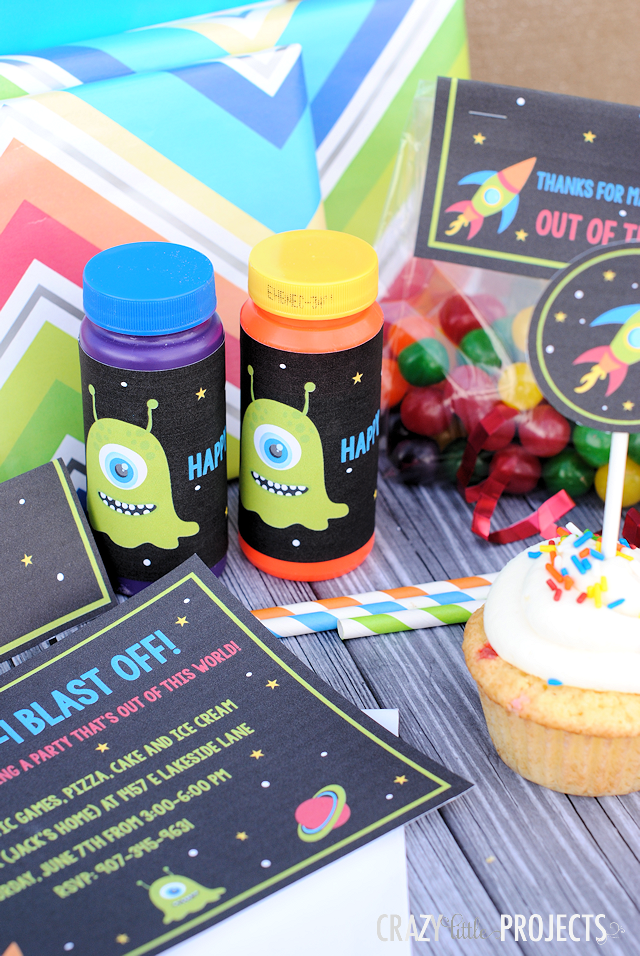 Space Birthday Party Invitations Party Pack Outer space Themed