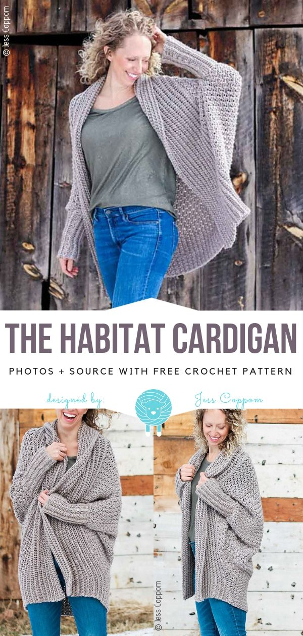 Photo of Das Habitat Cardigan Free Häkelanleitung